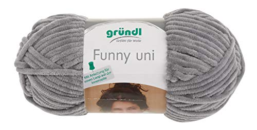 gründl Wolle Garn Funny Uni 100g Woll Stricken häckeln Pullover Hellgrau