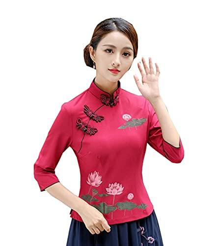 YueLian Mandarinenkragen, chinesisches Tang-Hemd, Seerosenmuster, Qipao-Oberteile, traditionelle Bluse für Damen Gr. 40, rot