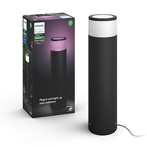 Philips Hue Calla Pedestal o sobremuro exterior LED inteligente (bajo voltaje, extensión) negro, luz blanca y de colores, compatible con Amazon Alexa, Apple HomeKit y Google Assistant