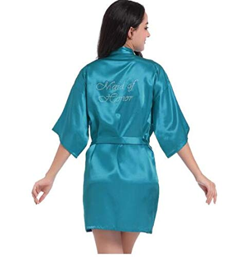 YHSM Satin Faux Silk Hochzeit Braut Brautjungfer Roben Weiß Brautkleid/Kimono Bademäntel Braut Braut Brautjungfer Grafik auf Back Lake Blue Maid von HM