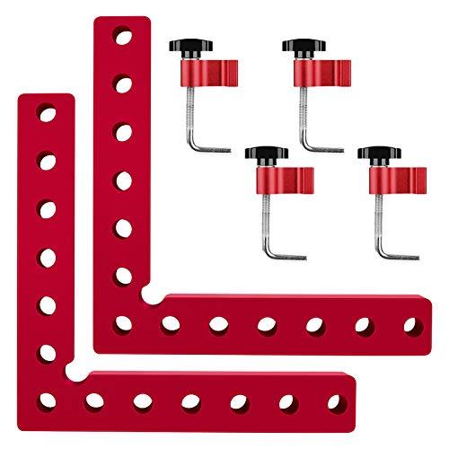 Victop Squadre di posizionamento a 90 gradi, morsetti ad angolo retto con 4 morsetti Morsetto angolare tipo L in lega di alluminio Utensile da falegname per falegnameria per cassetti per armadietti