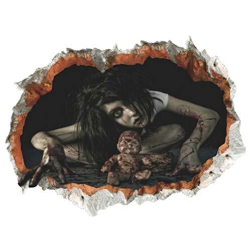 Flybloom Halloween Abnehmbare Weibliche Geister Terror Wandaufkleber, Spukhaus Halloween Dekorationen (Stil 3)