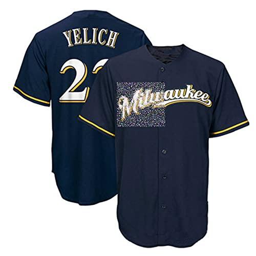 ZZZT Uniforme de béisbol de los Hombres, ẏḕḷḭḉḣ 22 ḃṙḕẁḕṙṡ Camisa de béisbol Bordado, Fan Uniforme Militar, Transpirable, Secado rápido, Lavable, 5-XL