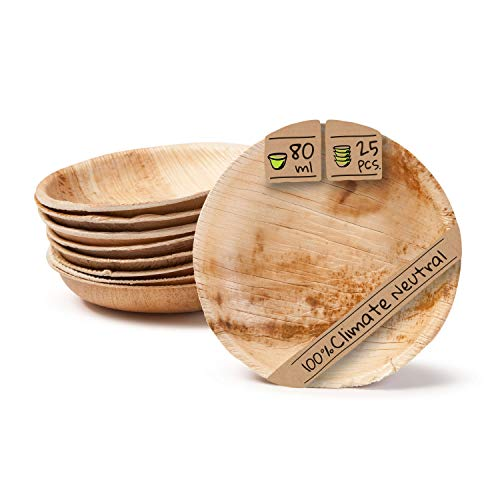 BIOZOYG Palmware - Set Cuencos Snacks I 25 Piezas orgánicas Desechables de 80ml, Ø10cm I Party vajilla compostable y Biodegradable I Hojas Palma vajilla desechable para Fingerfood Dips Buffet