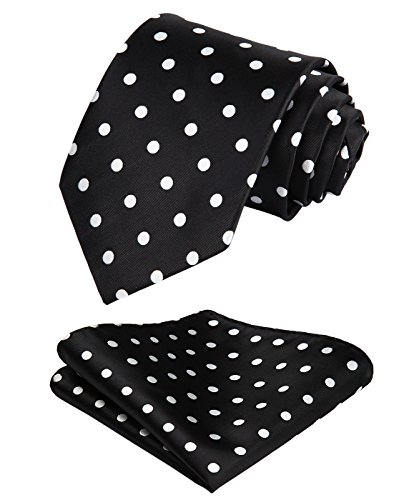 HISDERN Dot Floral Wedding Tie Panuelo Corbata para hombre y conjunto de bolsillo cuadrado