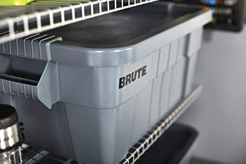 Rubbermaid Commercial Brute Tote Storage Bin With Lid, 14- Gallon, Gray (FG9S3000GRAY)