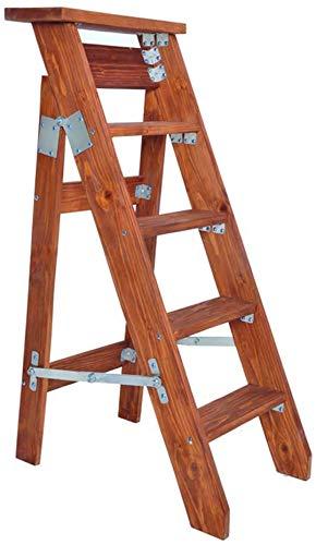 BATOWE Arriba 5 Escalera Plegable, Taburete de Paso Plegable de Cocina Pasos de Madera del Estilo - Rojo-marrón