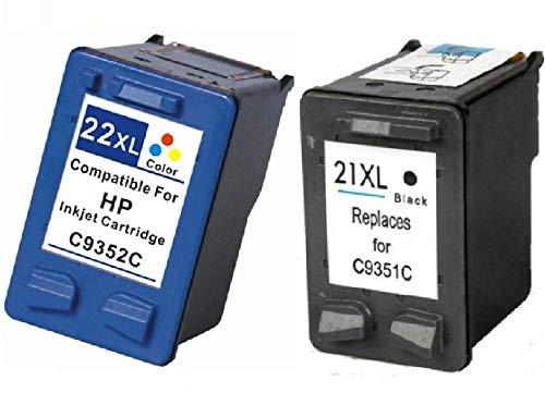 Cartuchos compatibles HP 21XL + 22XL negro color para HP F370 D1360 F2180 PSC 1402 C9352A