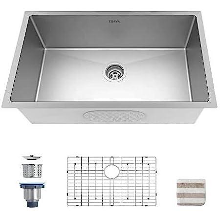 Torva 30 Inch Undermount Kitchen Sink 16 Gauge Stainless Steel Undermount Single Bowl 30 X 18 X 10 Inch Deep Fits 33 Inch Cabinet Amazon Com
