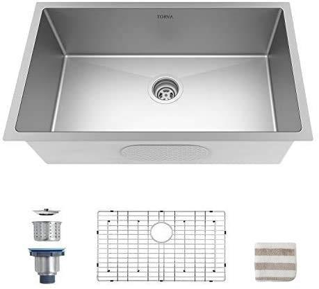 TORVA US 30 x 18 x 10 Inch Undermount Kitchen Sink