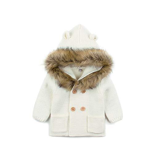 Cappotto Maglione Invernale per Bambino Bambina Unisex Cardigan con Cappuccio a Maniche Lunghe Lavorato a Maglia Casual Morbido Caldo 0-24 Mesi (B-Bianco, 12-18 Mesi)