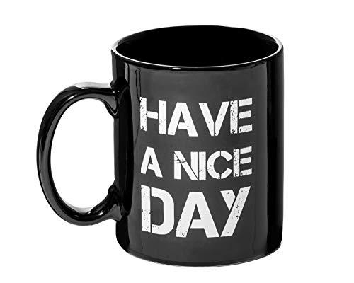 """KOSxBO® Tasse mit Spruch """"Have a Nice Day"""", mit einem Mittelfinger auf der Unterseite der Kaffetasse"""