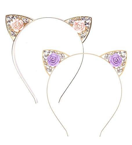 VK Accessories 2 pcs Rose Pink Flower Cat Ear Headband for Women 02