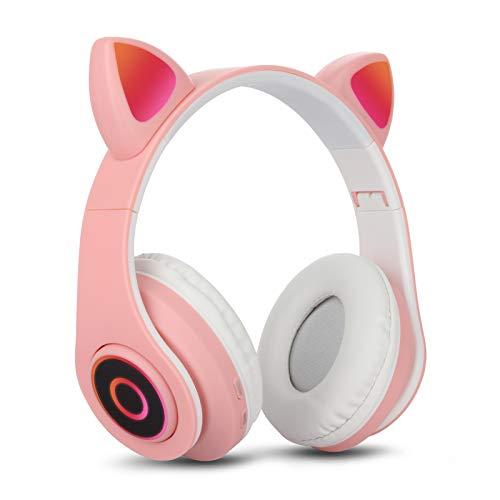 Bluetooth Over-Ear Kopfhörer Rosa, Sendowtek Mädchen Katzenohr Kopfhörer mit LED-licht Faltbare Stereo Kopfhörer Kabellose, Kopfhörer Headsets für Kinder mit Mikrofon, Micro SD/TF, für Tablet/PC/TV