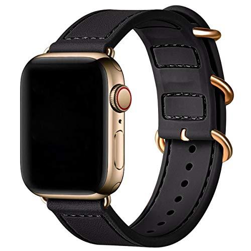 BesBand Compatible con correas de Apple Watch de 44 mm, 42 mm, 40 mm, 38 mm, correa deportiva de silicona suave para Apple Watch SE y iWatch Series 6/5/4/3/2/1 (negro/dorado, 38 mm 40 mm)