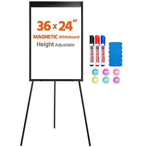 Yaheetech Easel Style White-Board Easel Stand 36x24 Inches Magnetic Tripod Whiteboard with Stand Flipchart Easel Board Height Adjustable Office Board for Teachers/School/Home, Black Frame