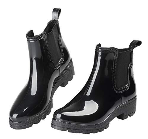 EYUSHIJIA Women's Short Rain Boots Waterproof Slip On Ankle Chelsea Booties (9 B(M), Black-A)
