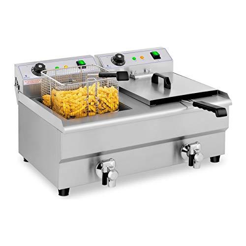 Royal Catering Freidora Eléctrica Doble Para Hostelería 2 x 13 Litros 230 V RCEF 13DB (2 x 3.200 W, Grifos De Vaciado, Temperatura: 50-200 °C)