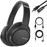 Sony Noise Cancelling Headphones WHCH700N - Wireless Bluetooth Over The Ear Headset with Mic for Phone-Call and Alexa Voice Control – Black + NeeGo 3.5mm Headphone Extension Cable, 10ft