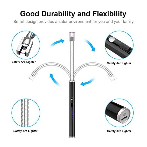Candle Lighter, haino Rechargeable Electric Arc Lighter with 360° Flexible Neck LED Battery Display and Flameless Windproof Triple Safety Long Lighter (Black) 4