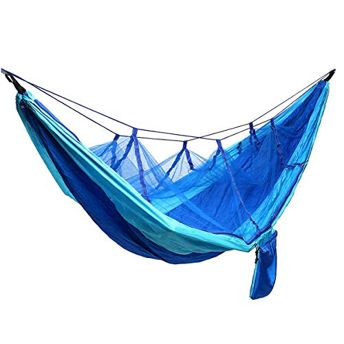 A-hyt Hamaca para Acampar al Aire Libre Campamento Ultraligero Hammock Beach Bed Hamaca para la Supervivencia o Viaje de Mosquitos de Mochila, hamacas de Malla de Mosquitos (Color : Blue)