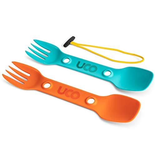 UCO Utility Spork 3-in-1 Combo Spoon-Fork-Knife Utensil, 2-Pack, Teal/Ember