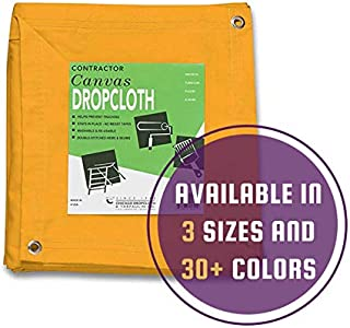 10 oz Cotton Canvas Drop Cloth with Grommets (8 feet x 10 feet, Yellow)