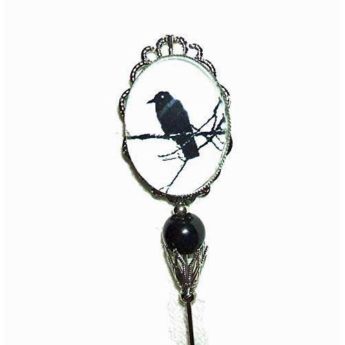 BLACK BIRD ON BRANCH Glass Cabochon Stick Pin Long Directly Easy-to-use managed store Hat Hatpin Vi