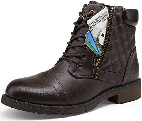 VEPOSE Women's Ankle Booties Combat Short Winter Dark Brown Lace up Low Heel Boots for Women(9,Ankle Boots-903-Dark Brown)