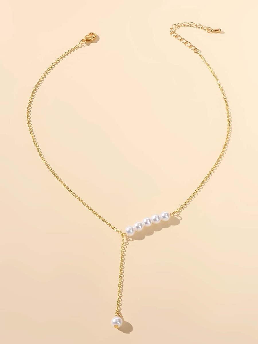frenma Necklace Pendant Faux Pearl Decor Y Lariat Necklace (Color : Gold)