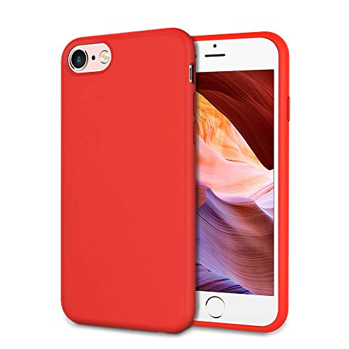 UrSpeedtekLive Slim Series iPhone 6/6s/7/8 Case, Liquid Silicone Gel Rubber Shockproof Cover Case with Soft Microfiber Lining Full Body Protection for iPhone 6/6s/7/8, Red