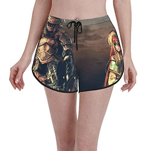 Inaayayi Pantalones cortos Goblin Slaye para mujer, con cordón, de secado rápido, pantalones cortos de playa, para verano, novedosos, trajes de baño, casual, cintura