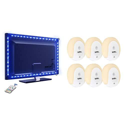 OMERIL TV Hintergrundbeleuchtung 2.2M USB Led Band Strip mit Fernbedienung + Umi. Umi. Steckdosen-LED-Nachtlicht 20lm mit Dämmerungs- und Bewegungssensoren, 6er-Pack
