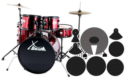 """XDrum Rookie Schlagzeug Set Drumset Rot (22\"""" BD, 10\"""", 12\"""", 14\"""" TT, 14 SN, Übungsbecken bestehend aus einem Satz Hi-Hat-Becken 14\"""" und 1 Crash-Ride-Becken 16\"""", inkl. DVD und Schlagzeugdämpferset)"""