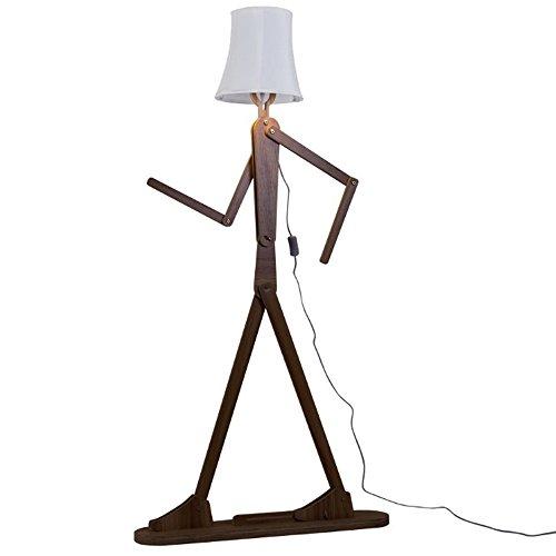 QIANGUANG Moderno lámpara de pie Creativo Original Madera 1.6 m de Madera Decoración del hogar Luz de pie para Sala de Estar y Dormitorio (Marrón Oscuro)