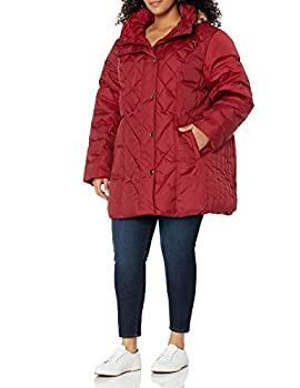 LONDON FOG Women s Plus Size Diamond Quilted Down Coat Chili Red 2X