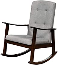 Homes r us SUCY Collection Rocking Chair, Espresso - 34.6 x 28.4 x 39.8 cms