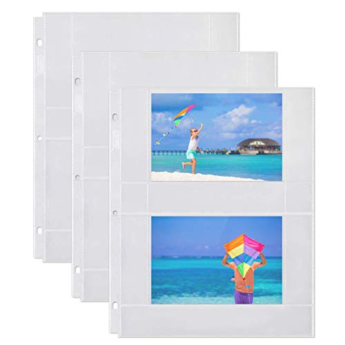 Dunwell Photo Album Refill Pages - (4x6 Horizontal, 25 Pack) for 100 Photos, 3-Ring Binder Photo Pockets, Each Photo Page Holds Four 4 x 6 Pictures, Postcard Sleeves, Archival Photo Sleeves 4x6