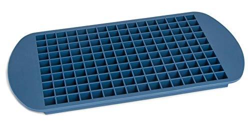 Eiswürfelform Silikon I Eiswürfelbehälter zum Stapeln I 160 kleine Eiswuerfel I wiederverwendbarer Eiswürfelbehälter BPA-frei I 24 x 12 x 1cm I Farbe: Blau
