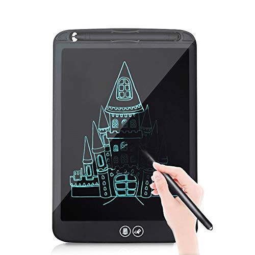 FXXJ 10 Inch Colourful LCD Writing Tablet, Electronic Graphic Tablets with Memory Lock, One-click erasure & Partial Erase Drawing Tablet for Kids, Adults,Black