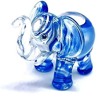 Audomna Shop Hand Blown Art Glass, Blue Elephant Miniature Animals Collection, Dollhouse Miniatures