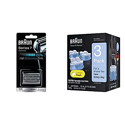 Braun Shaver Replacement Part 70S Silver, Compatible with Series 7 Shavers & Replacement Cartridges for Electric Shaver, Pack of 3