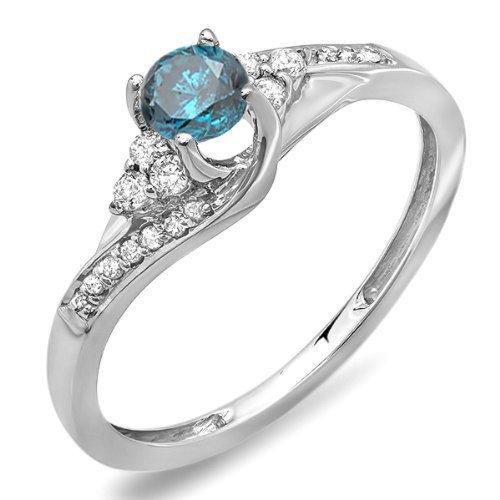 Little Treasures   417 Gold  Oro de 9 quilates. redonda   Blue Diamante azul diamante blanco