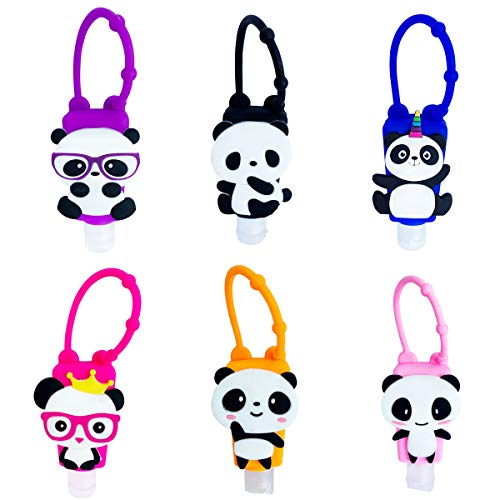 VHOPMORE 6Pcs Portable Hand Sanitizer Bottle Holder Cute Panda Cartoon Silicone Protective Case with Mini 30ml Detachable Kids Travel Plastic Bottles Leak Proof Refillable Liquid Soap Containers