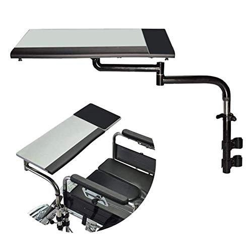 Rollstuhl Tablett, Rollstuhltisch Universal-Rollstuhlrunde Geeignet für Manuell Angetriebene oder elektrische Rollstühle Zubehör für Rollstuhltische Push Pull Handy,Grau