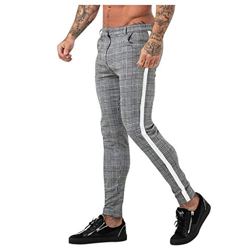 Luotuo Herren Jogginghose Trainingshose Sport Fitness Gym Training Slim Fit Stoffhose Sweatpants Streifen Jogging Hose Bodybuilding Plaid Pants Bleistifthosen