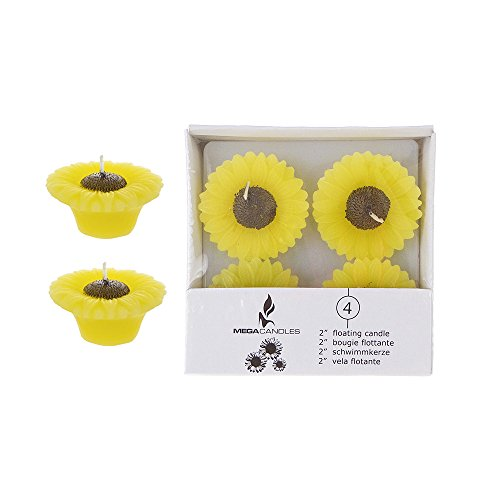 Mega Candles - Unscented 2' Floating Sun Flower Candles - Yellow, Set of 12