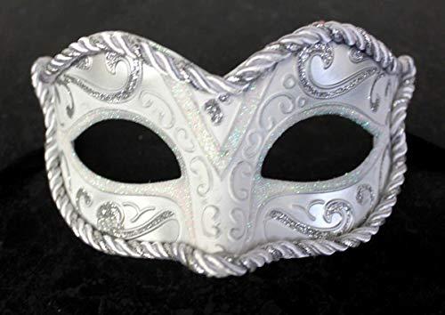 Mascarilla veneciana para mujer, color blanco y platea