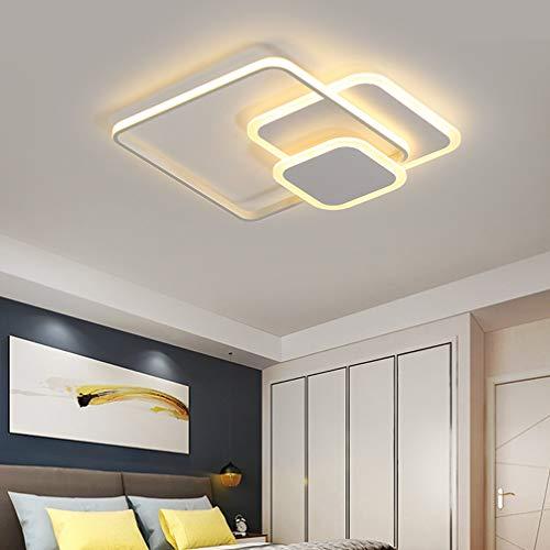 LED Lámpara de Techo Salon Dormitorio Moderno Luz de Techo Regulable con Mando Distancia, Plafón Cuadrado Diseño Sala Estar Restaurante Cocina Baño Deco Araña Luz Pantalla Acrilica Blanco L52*W52cm