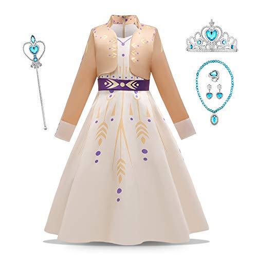 O.AMBW Vestido de Reina Anna para nias, Color Beige, Manga Larga, Disfraz con 5 Accesorios, Vestido de Princesa, Cosplay Princesa Anna, Carnaval, Navidad, Halloween